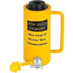20T Hydraulic Cylinder Jack Hollow 4 100mm Stroke Ram Pressure Pump