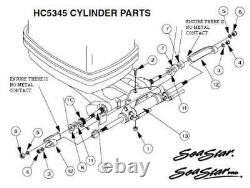 SeaStar Hydraulic Boat Steering KIT Tilt Helm HH6191 Cylinder Ram HC5345 Hose 24