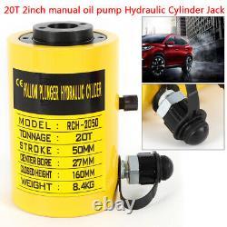 20t Hydraulique Hollow Hole Cylindre Jack Plunger Ram 2 Pouces Pompe À Huile Manuelle Hot